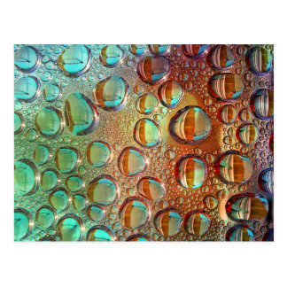 Colorful water bubbles pattern postcard