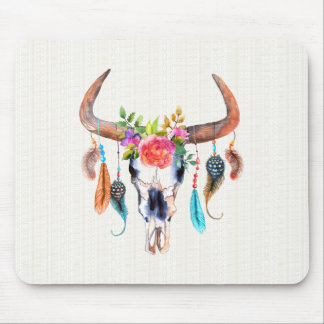 Colorful Watercolor Bison Skull With Horns Mouse Pad