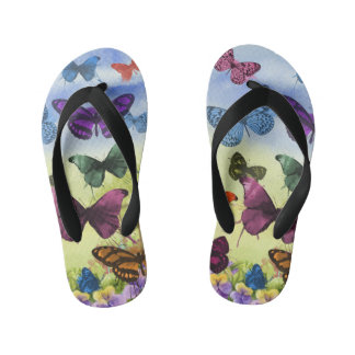 Colorful watercolor butterflies illustration girls kid's jandals