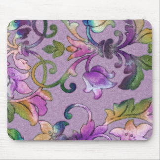 Colorful Watercolor Damask Mouse Pad