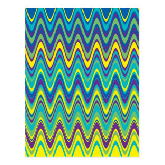 Colorful Wave Zig Zag Pattern Postcard
