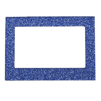 Colorful Wedding Anniversary Blue Glitter Picture Frame Magnet