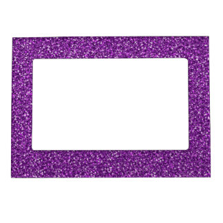 Colorful Wedding Anniversary Purple Glitter Frame Magnet