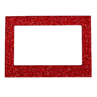 Colorful Wedding Anniversary Red Glitter Texture Frame Magnet