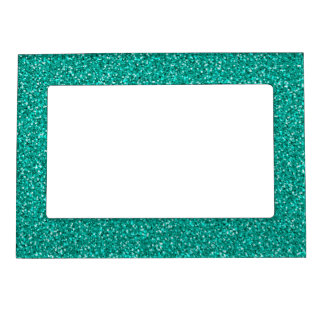 Colorful Wedding Anniversary Teal Glitter Magnetic Picture Frame