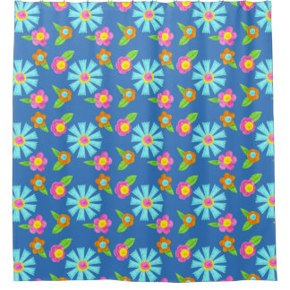 Colorful Whimsical Watercolor Flowers Girly Shower Curtain