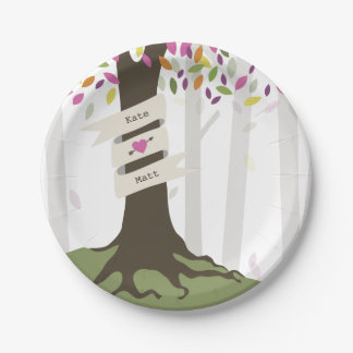 Colorful Woodland Wedding Paper Plate