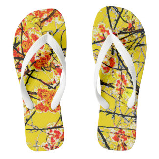 Colorful yellow and orange cherry blossom design thongs