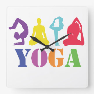 Colorful Yoga Poses Design Square Wall Clock