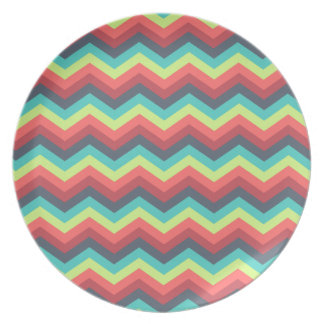 Colorful Zigzag Chevron Stripes Blue Red Yellow Dinner Plate