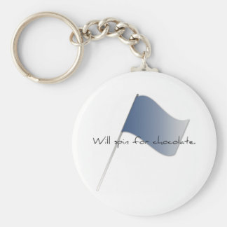 "Colorguard ""Will spin for chocolate."" Key Ring"