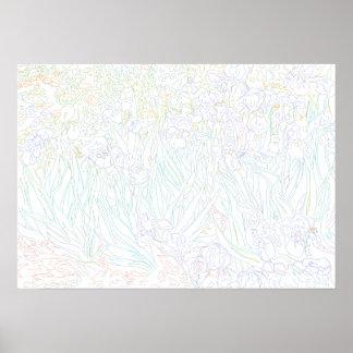Coloring Page - Irises Van Gogh Poster