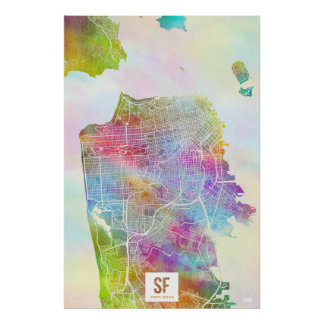 Colors of San Francisco Map Poster