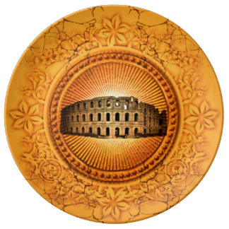 Colosseum on a button with floral elements plate