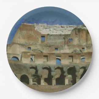 Colosseum painting, Rome Paper Plate