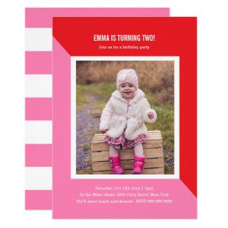 Colour Block Photo Kids Birthday Card