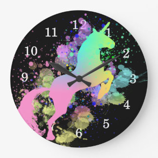 Colour Splash Fantasy Rainbow Unicorn Large Clock