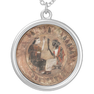 Coloured Archaic Dionysos and Ariadne Round Pendant Necklace