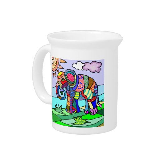 Colourful abstract artistic folcloristic elephant pitcher