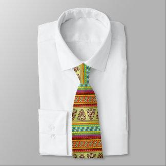 Colourful African Masks Stripe Kente Pattern Tie