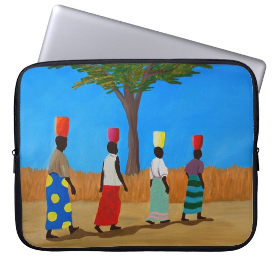 Colourful African Women Carrying Buckets Laptop Sleeve