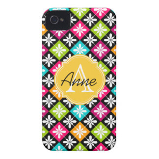 Colourful Argyle Floral Pattern Monogram Name iPhone 4 Case