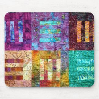 Colourful Batik Quilt Blocks Mouse Pad