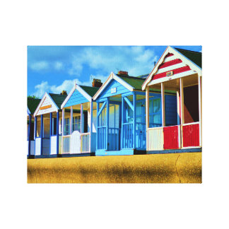 Colourful Beach huts Gallery Wrap Canvas