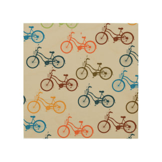 Colourful Bicycle Pattern Wood Print