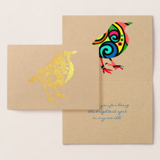 Colourful Bird All Occasion Custom Text Real Foil Card