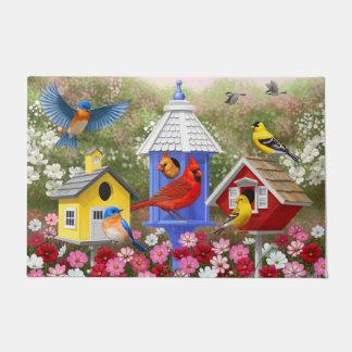 Colourful Birds and Birdhouses Doormat