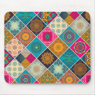 Colourful Bohemian Mandala Patchwork Mouse Pad
