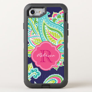Colourful Bohemian Paisley Monogram OtterBox Defender iPhone 7 Case