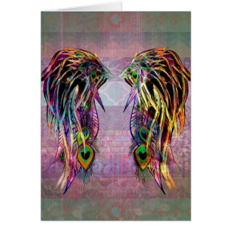 Colourful Bohemian Peacock Feather Angel Wings Card