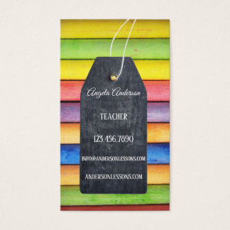 Colourful Chalk Blackboard Teacher Business Card