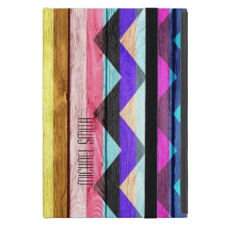 Colourful Chevron Stripe Vintage Wood #3 iPad Mini Cover