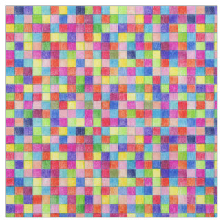 Colourful Coloured In Graph Paper Squares Fabric