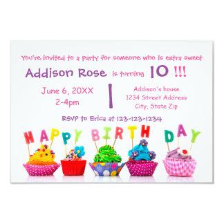 Colourful Cupcake - 3x5 Girl Birthday Card