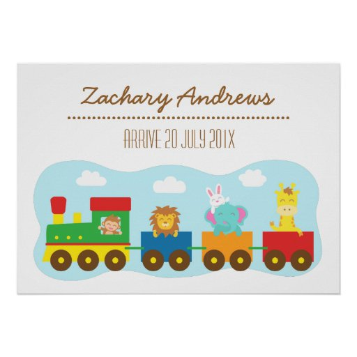 Colourful Cute Animal Train, For Kids Bedroom Posters