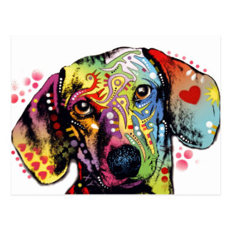 colourful Dachshund art Postcard