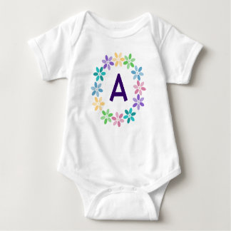 Colourful Daisy Circlet Monogrammed Baby Bodysuit