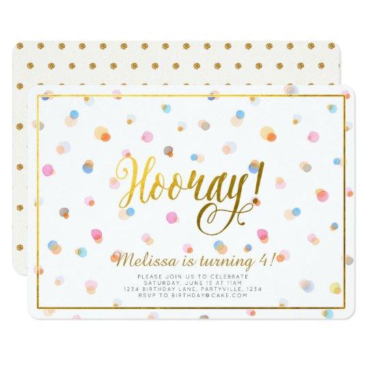 Colourful Dots Hooray Birthday Invitation