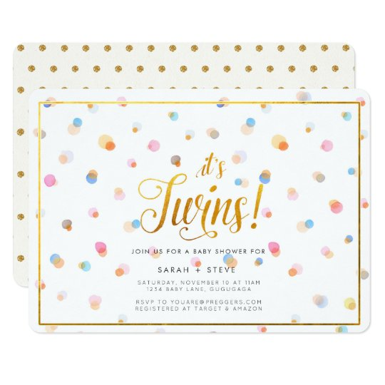Colourful Dots Twins Baby Shower Invitation