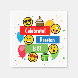 Colourful Emoji Birthday Party Kids or Boys Custom Disposable Serviette