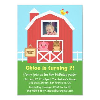 Colourful Farm Barnyard Animal Birthday Party Invites