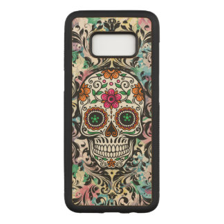 Colourful Floral Skull Black Swirls 2 Carved Samsung Galaxy S8 Case