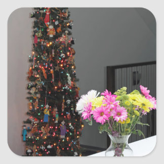 Colourful Flower Bouquet and Christmas Tree Square Sticker