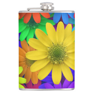 Colourful flowers art hip flask