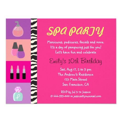 Colourful Girly Spa Birthday Party Invitation Custom Invitations
