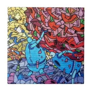 Colourful Graffiti Art Small Square Tile